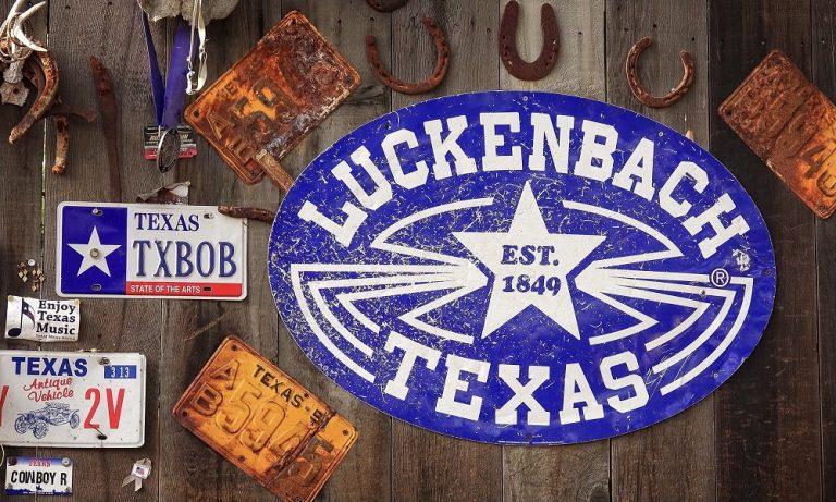 Collage of Luckenbach Texas items.